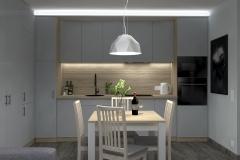 Bosmańska - kuchnia nowoczesna - widok na stół wieczór