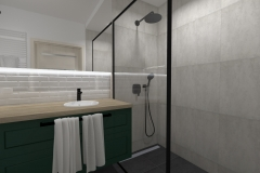 Łazienka od wejścia na prysznic