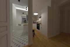 Przedpokój i łazienka po zmianie układu ścian - wieczór