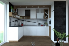 Kuchnia - widok od strony salonu