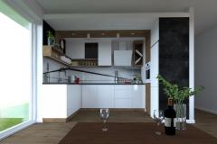 Kuchnia - widok z kanapy w świetle dziennym