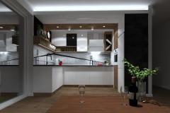 Kuchnia - widok z kanapy wieczorem, oświetlenie projektowane