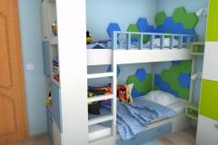 Pokój dla chłopców - na łóżko piętrowe i regał
