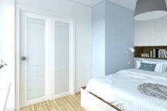 Mikrosypialnia wydzielona z salonu - Drzwi przeszklone - poranek