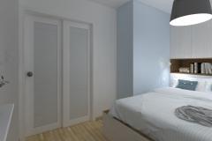 Mikrosypialnia wydzielona z salonu - Drzwi przeszklone - wieczór