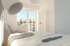 Mikrosypialnia wydzielona z salonu - z łóżka na drzwi - przeszklone - dzień