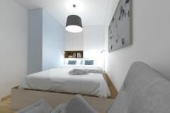 Mikrosypialnia wydzielona z salonu - z fotela - wieczór