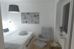 Mikrosypialnia wydzielona z salonu - od wejścia wieczór