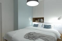 Mikrosypialnia wydzielona z salonu - łóżko z narożnika - wieczór