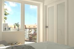 Mikrosypialnia wydzielona z salonu - na okno i drzwi