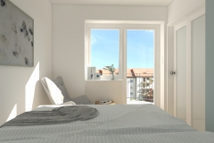 Mikrosypialnia wydzielona z salonu - z łóżka osiowo -  drzwi przeszklone - dzień