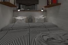 GDYNIA aranżacja mikroskopijnej sypialni widok wieczorny