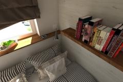 GDYNIA aranżacja mikroskopijnej sypialni widok dzienny z zasłoniętą roletą