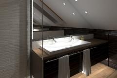 RUMIA Modrzewiowa  łazienka na poddaszu - wieczór