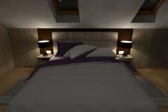 Sypialniana poddaszu od TV -wieczór lampki nocne