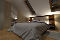 Sypialniana poddaszu od drzwi - wieczór