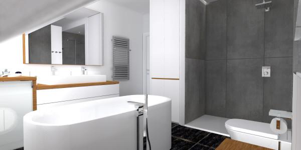 Gdynia Kettlinga – łazienka na piętrze w wykończeniu Blend Art