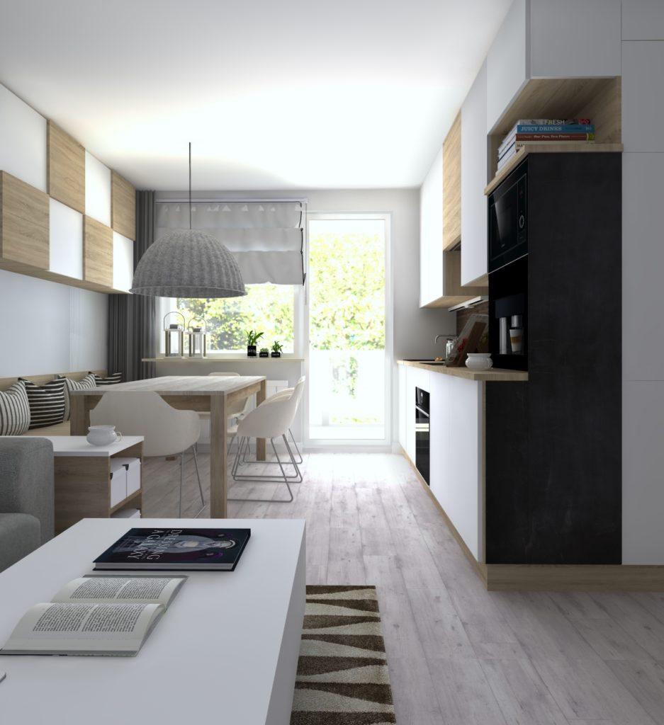mieszkanie na szaro - kuchnia z jadalnią