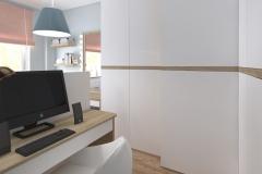 Sypialnia od wejścia na biurko